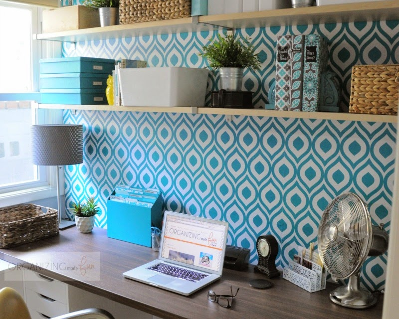 Home office statement wall of wallpaper in turquoise :: OrganizingMadeFun.com