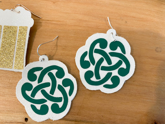St. Patrick's Day earrings, Celtic Earring free design, ratchet blade, faux leather earrings, Faux Leather earring templates