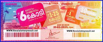 Kerala Summer Lottary BR-72 ,2020