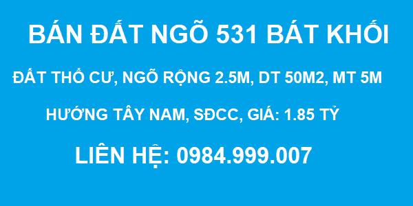 Bán đất Ngõ 531 Bát Khối, Thạch Bàn, DT 50m2, MT 5m, SĐCC, giá 1.85 tỷ, 2020
