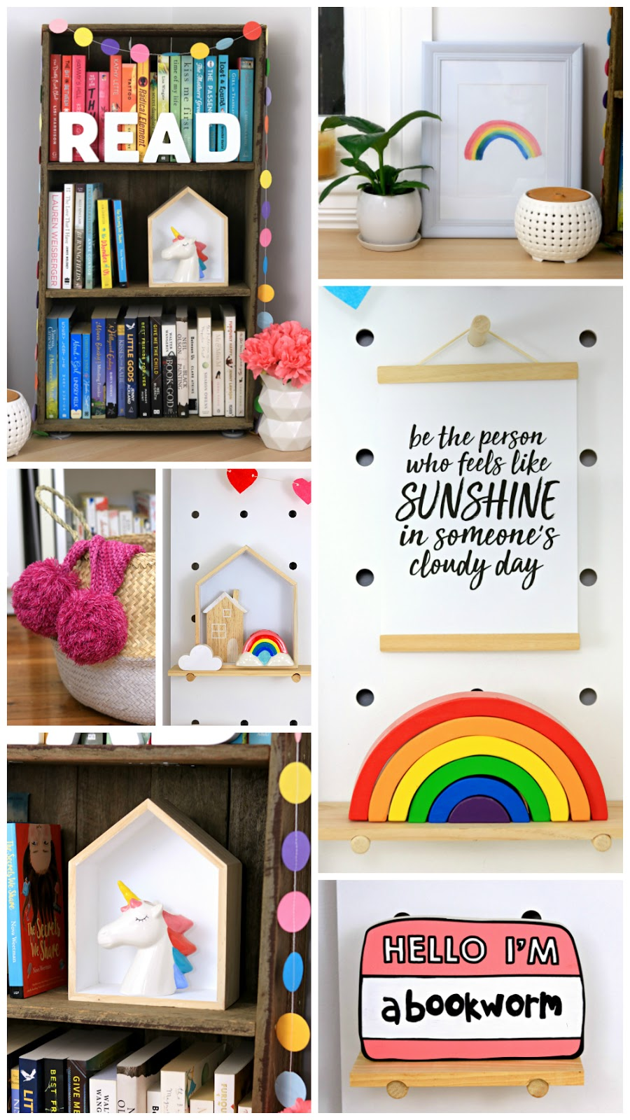 Rainbow Home Decor Styling – inspiration, easy rainbow  decoration ideas, bright rainbow home décor theme, bookworm bedroom ideas