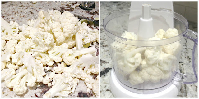 snow white chopped cauliflower and food processor