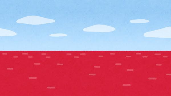 赤い海のイラスト(背景素材)