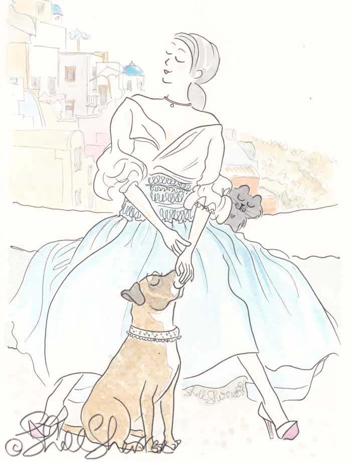 Greece Fashion and Fluffballs illustration: Wilma Wander and Dress Aquatic © Shell Sherree