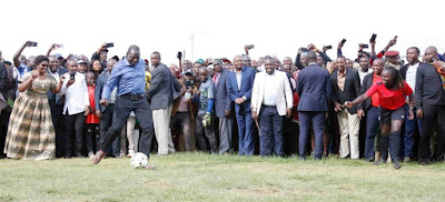DP William Ruto in meru launching youth football tournament. PHOTO | Njoroge