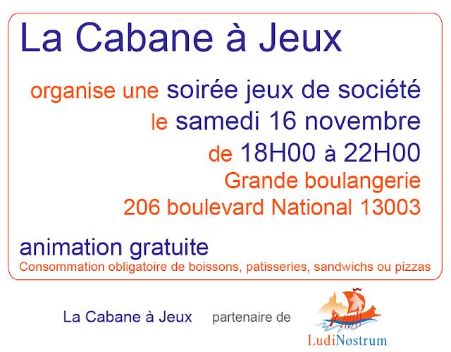 Affiche de Novembre en Jeux avec la Cabane à Jeux