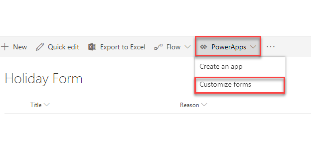 Customize New Form, Edit Form, And Display Form In Modern
