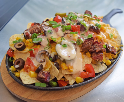 Smoked Green Chile Brisket Nachos