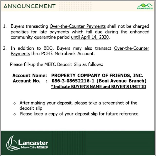 Lancaster accepts direct and online bank payments