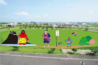 "2017 Inakadate Rice Field Art Site 2 ""Momotaro"" (Peach Boy) Michi no Eki ""Yayoi no Sato"" (Yayoi no Sato Viewing Area) 平成29年「桃太郎」第2田んぼアート道の駅いなかだて「弥生の里」(弥生の里展望所)"