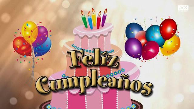 imágenes de feliz cumpleaños con globos y torta de cumpleaños
