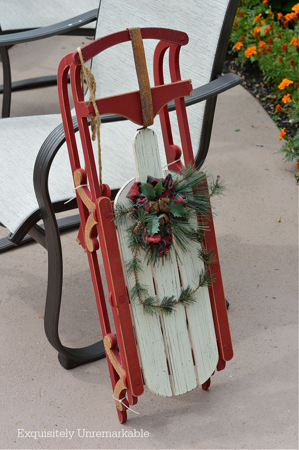 Little Red Christmas Sled on patio