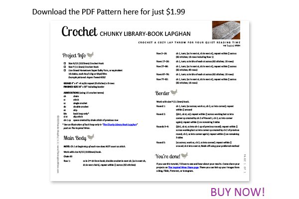 Download the Chunky Library Book Lapghan from The Inspired Wren