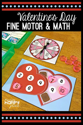 Valentine's Day Fine Motor Spin and Cover Pin