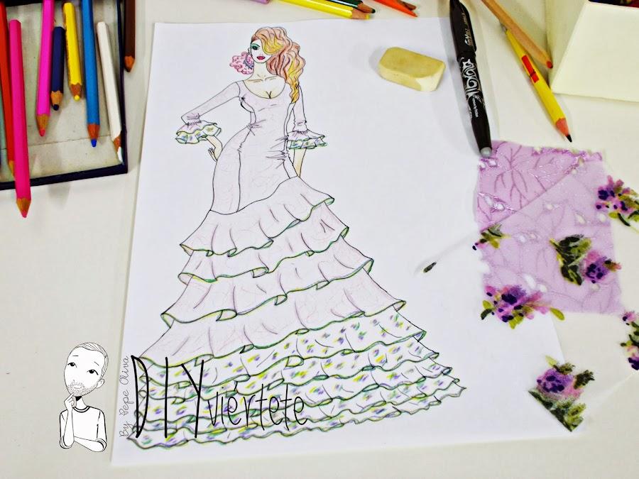 Traje-vestido-flamenca-patrón-paso a paso-costura-volantes-enagua-diseño