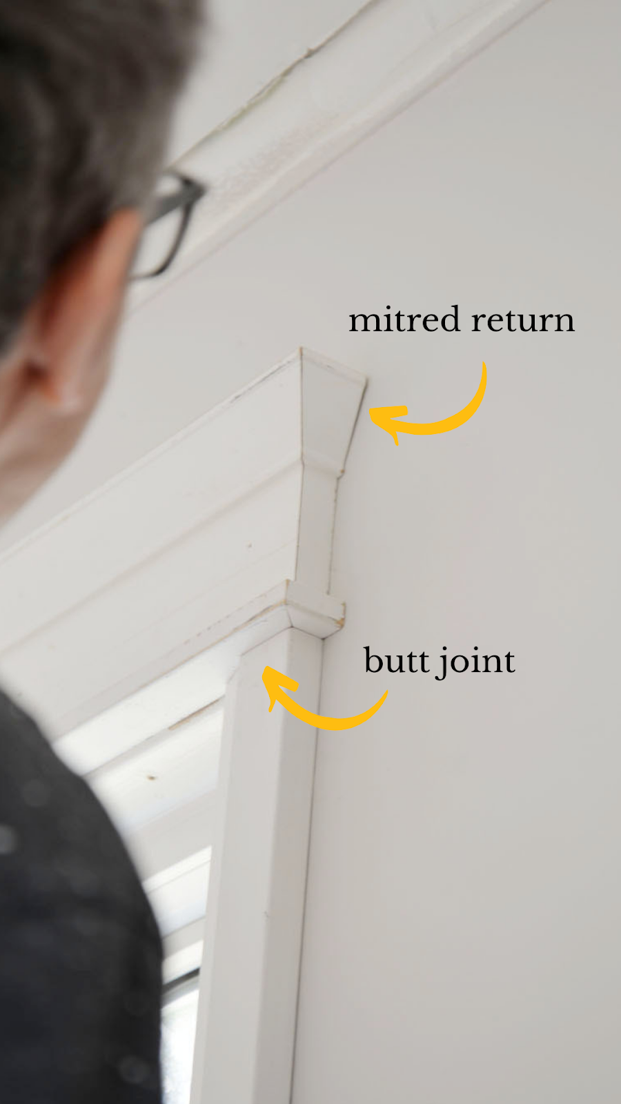 mitred return, butt joint, trim joint, how to join moulding, window casing installation, traditional moulding, shiplap alternatives