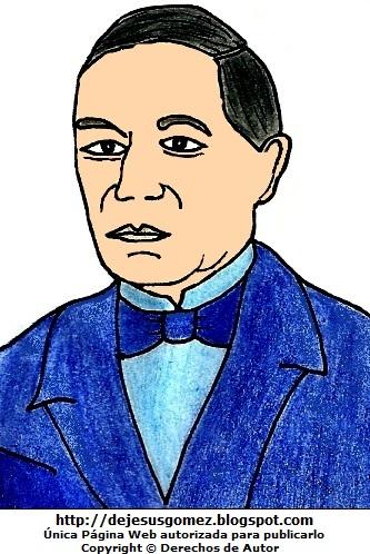 Imagen de Benito Juárez a colores, imagen de Benito Juárez para niños. Dibujo de Benito Juárez hecho por Jesus Gómez
