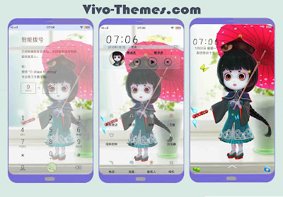 Cute Chinese Girl Cartoon Theme For Vivo Android