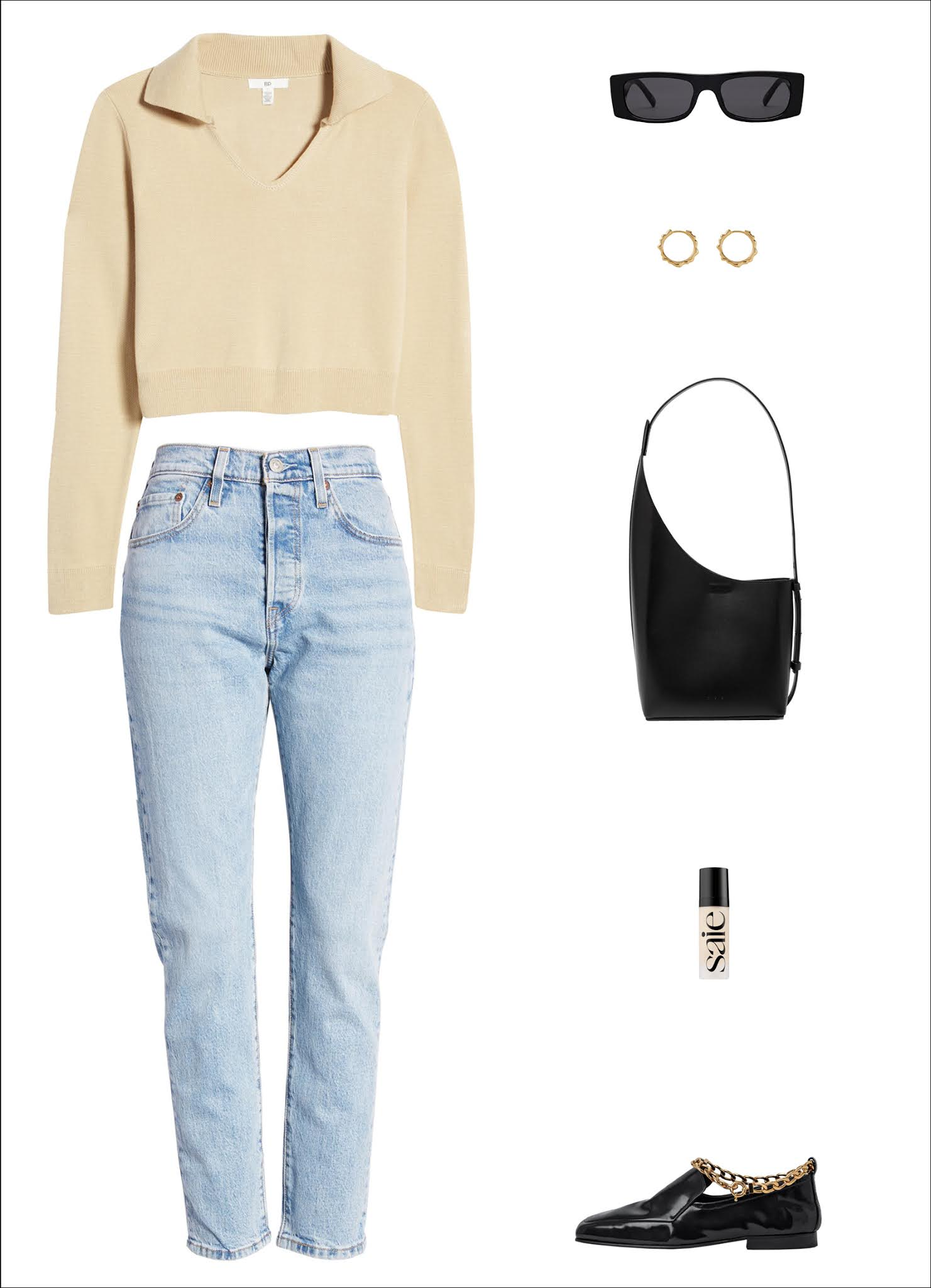 Stylish Transitional Spring Outfit Idea — Neutral Polo Sweater, Sunglasses, Hoop Earrings, Minimalist Black Tote Bag, Levi's 501 Jeans, Chain Anklet Loafers