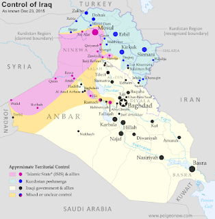 Map of Islamic State and Kurdish control in Iraq as of December 2015