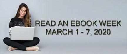 Read an Ebook Week 2020 - woman sitting enjoying ebook on laptop
