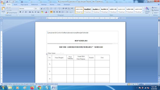 Contoh Format Daftar Laboratorium/Bengkel Sekolah Terbaru