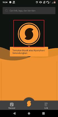 Untuk memulai meanganalisis lagu, Sobat bisa klik Logo SoundHound kemudian dekatkan hp Sobat dengan sumber lagu.