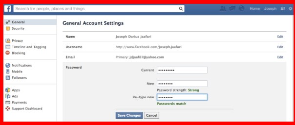 change password facebook