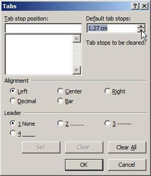 pengaturan tab pada ms word 2010
