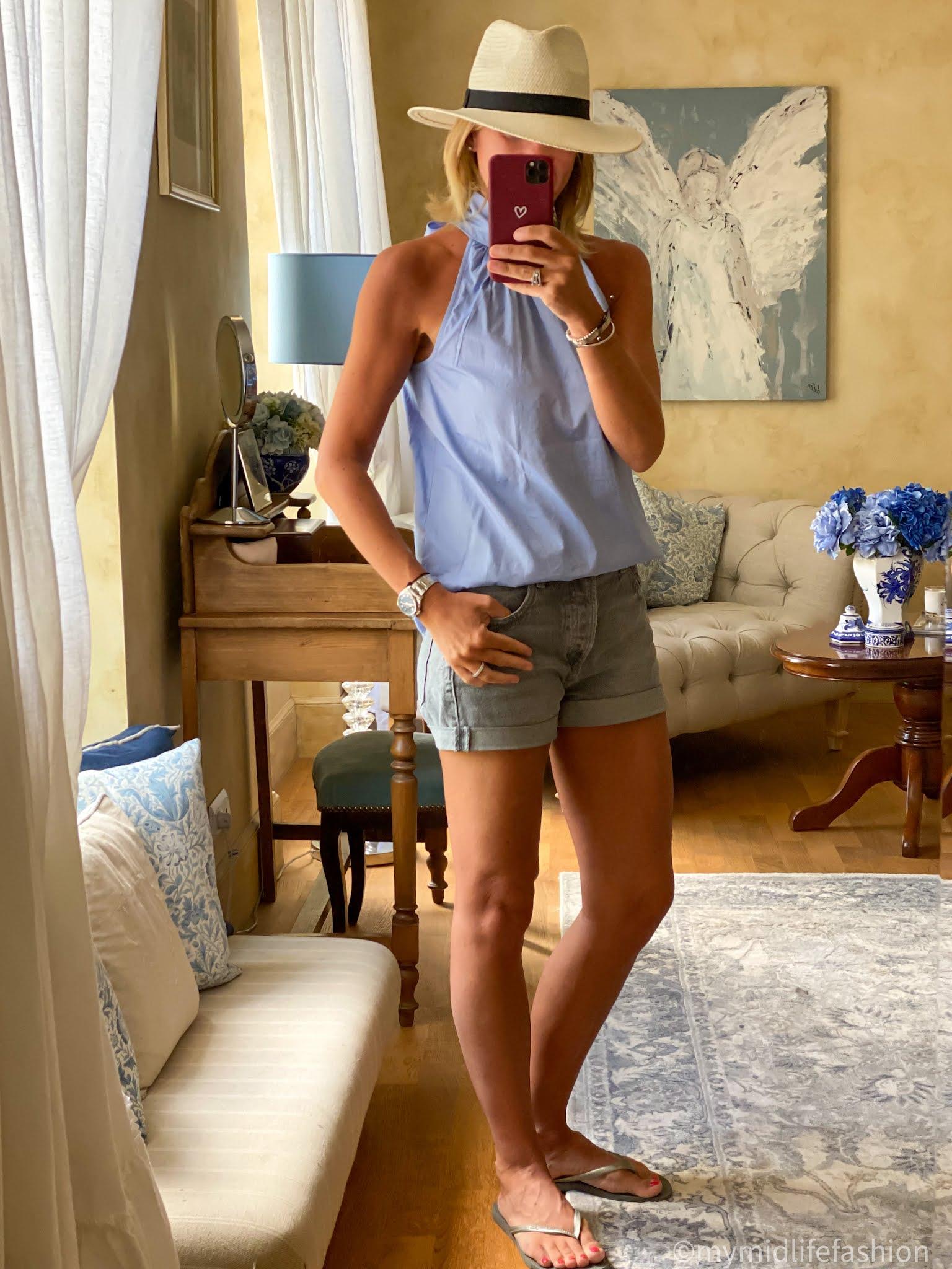 my midlife fashion, Zara Panama hat, j crew halter neck chambray top, Zara denim shorts, havaianas slim fit steel grey flip flops