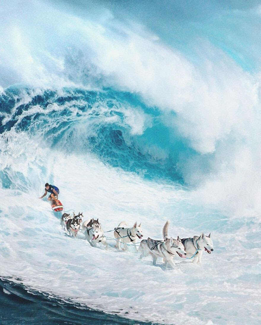 01-Surfing-Sled-Dogs-Zulkarnain-Ismail-Art-and-nature-in-Surreal-Photo-Manipulation-www-designstack-co