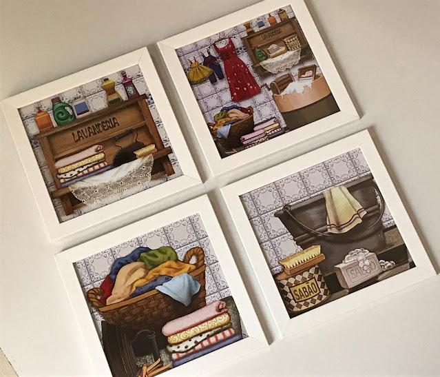 Conjunto com quatro quadros com moldura branca e vidro com estampa de lavanderia.