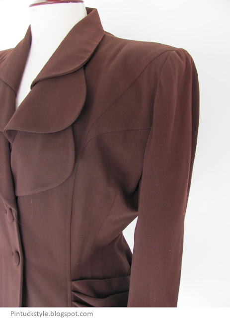 Lilli Ann jacket in brown, side detail