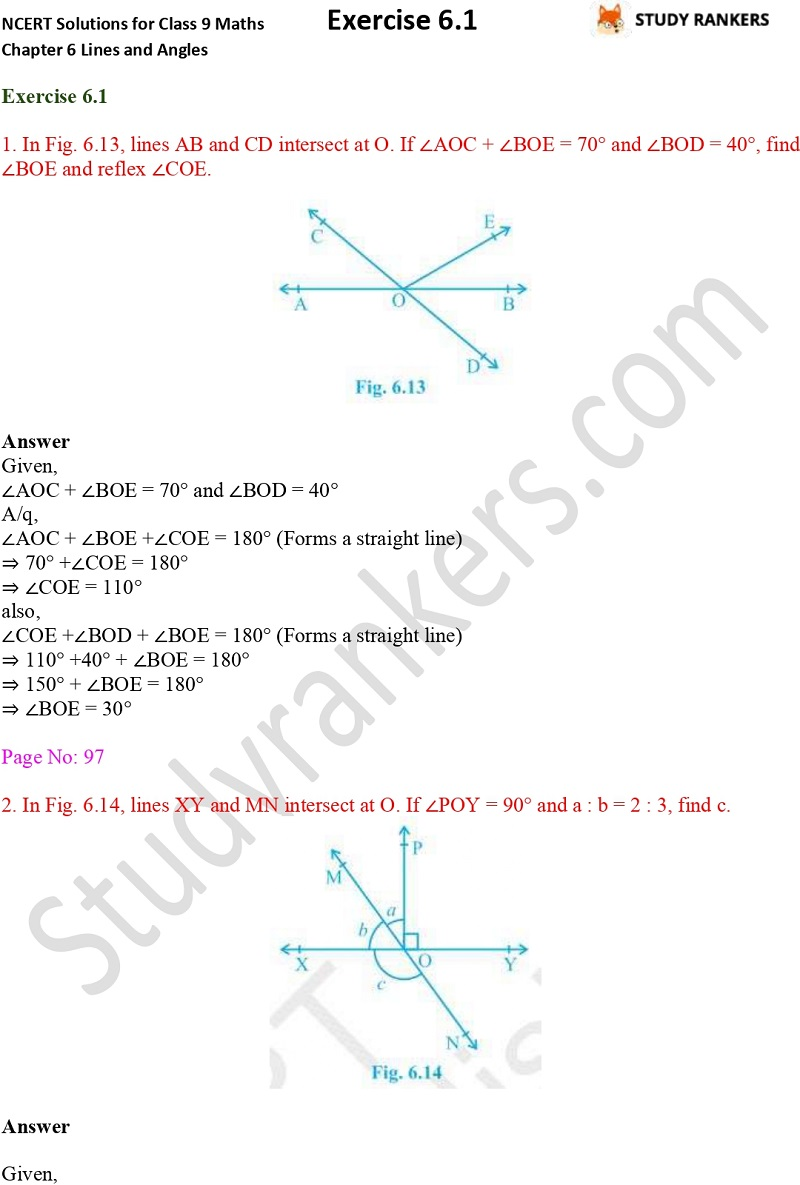 NCERT Solutions for Class 9 Maths Chapter 6 Lines and Angles Exercise 5.3 Part 1