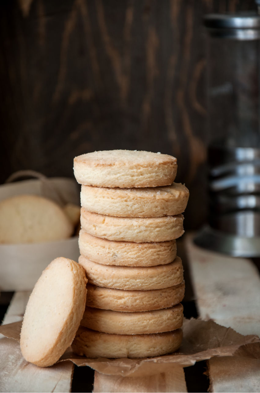A stack of clotted cream shortbread biscuits