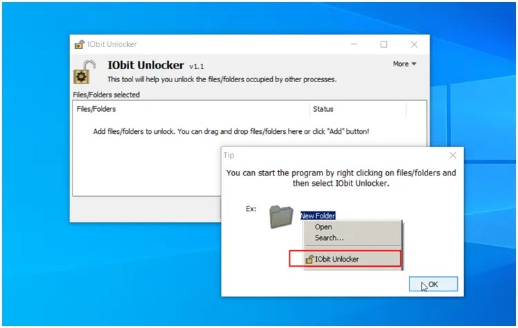IObit Unlocker : Διαγράψτε προστατευμένα αρχεία