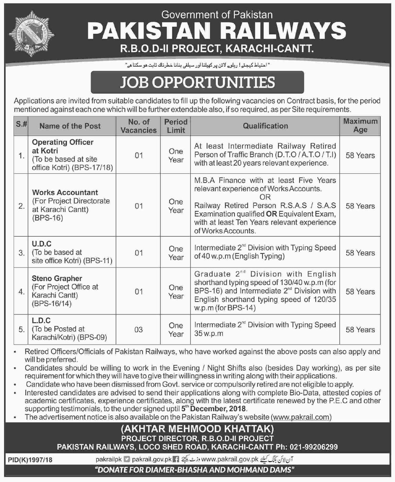 Pakistan Railways R.B.O.D-II Project Karachi Cantt Latest Jobs