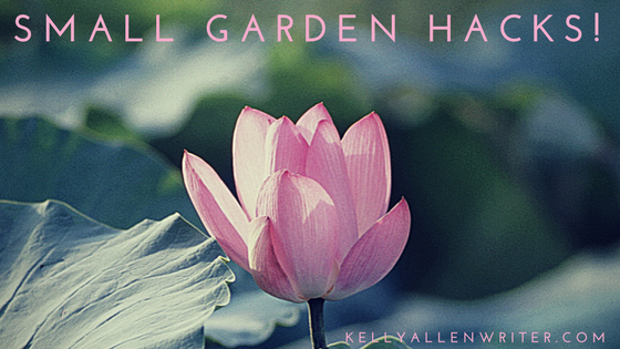 pink flower with 'small garden hacks' written on it.