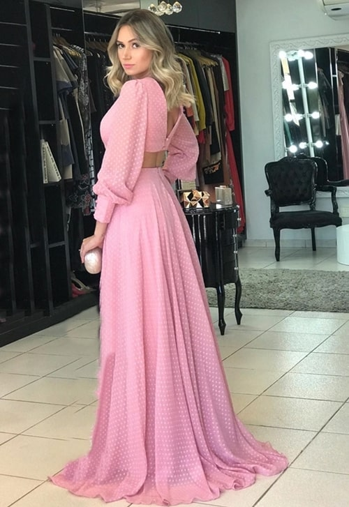 vestido longo rosa com manga longa