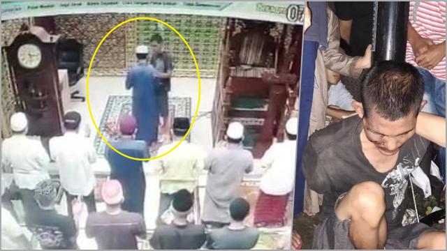 Terekam CCTV, Imam Masjid di Pekanbaru Dianiaya saat Pimpin Salat Subuh