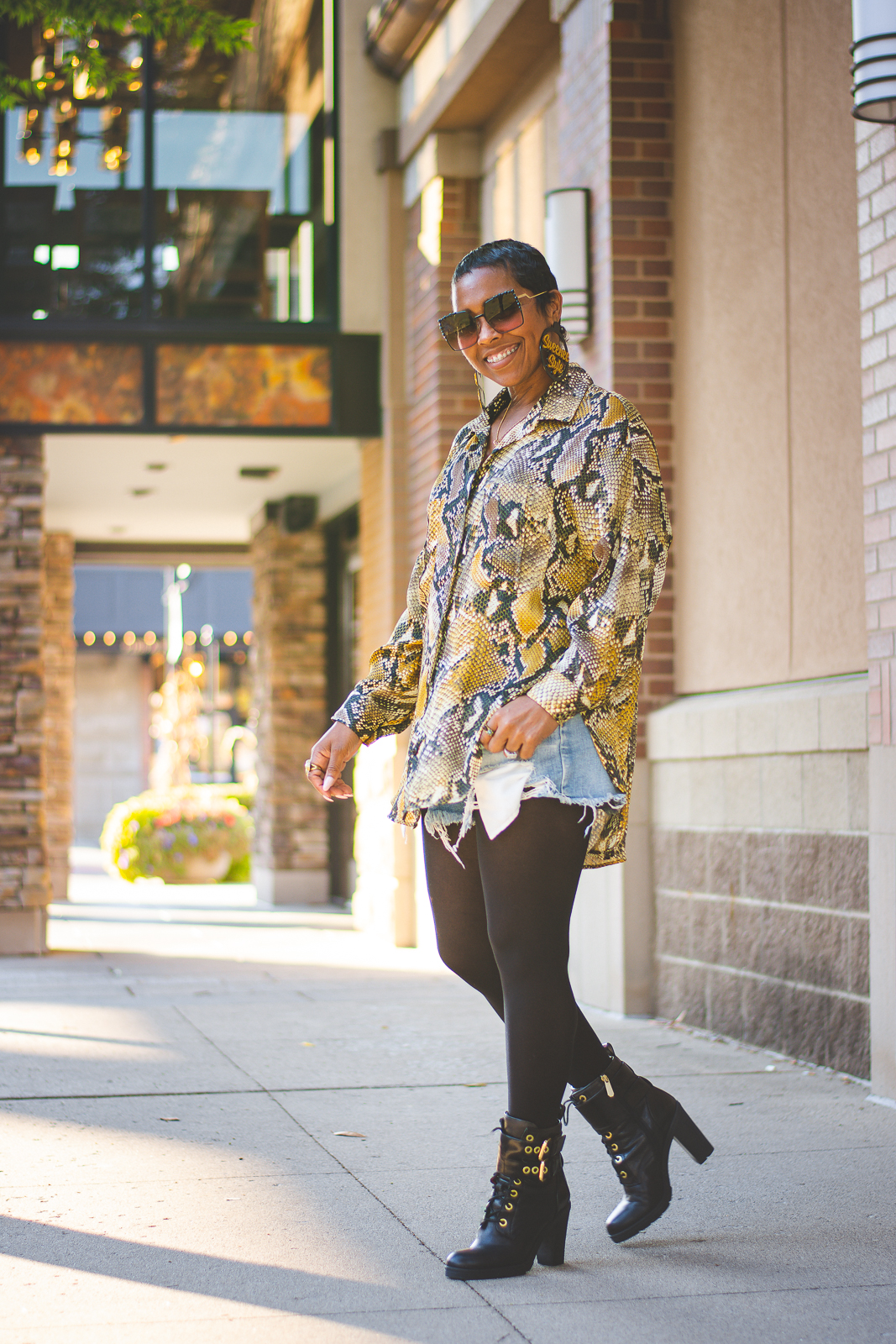 USE WHAT'CHA GOT!, OUTFIT IDEAS, OUTFIT, OUTFIT POST, Fall 2019, fall outfit ideas, Winter Outfit Idea, Winter 2019, Sweenee Style, Indianapolis Style Blog, Black Girls who blog, Outfit Inspiration, How to wear denim shorts, How to wear button up top, how to wear snakeskin