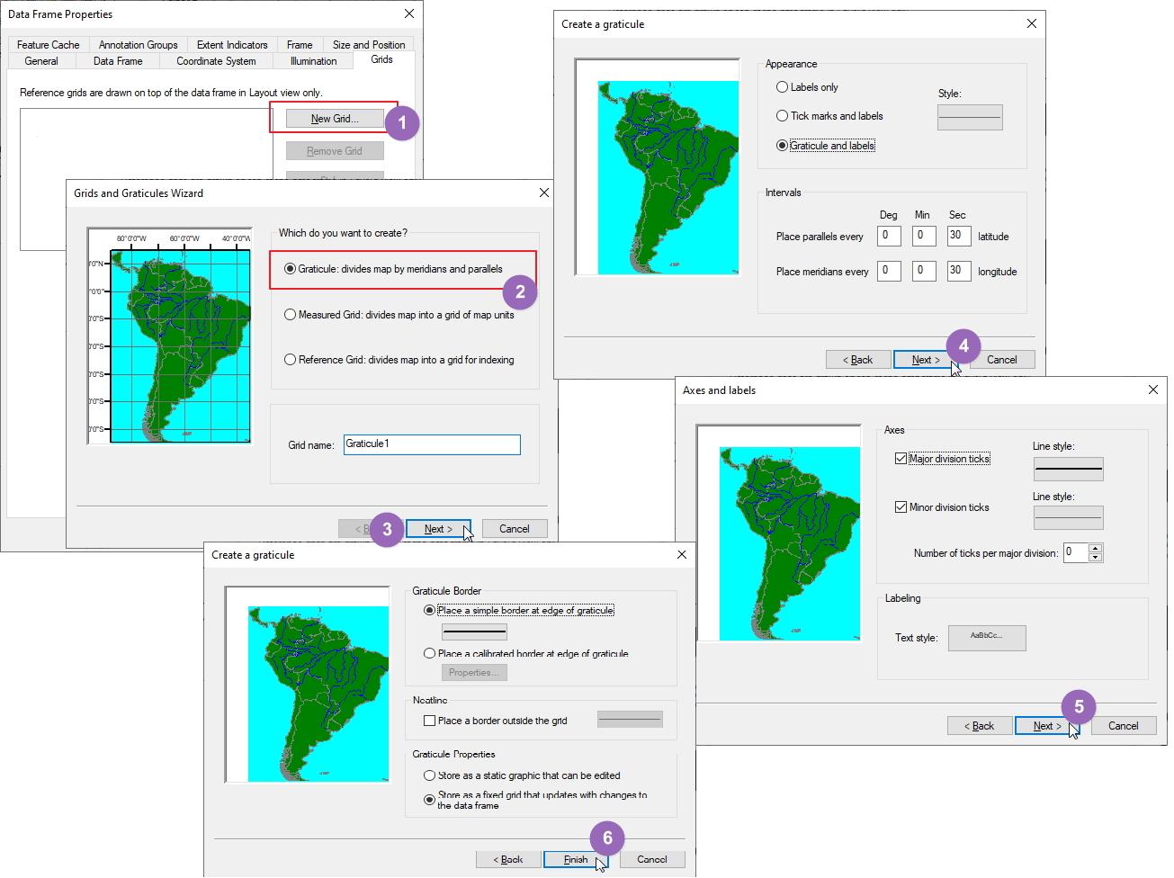 Membuat dua sistem grid di layout dengan koordinat geografis dan UTM pada ArcGIS