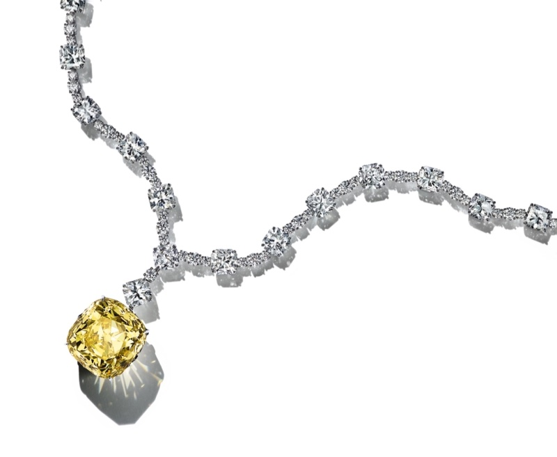 The Tiffany Diamond weighs 128.54 carats, and this marks the first time it has been worn in a fashion campaign