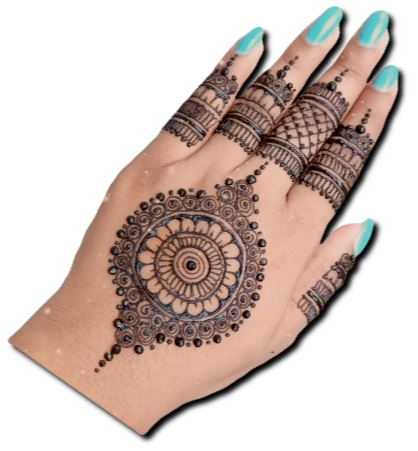 Back Hand Mehndi design of Earring