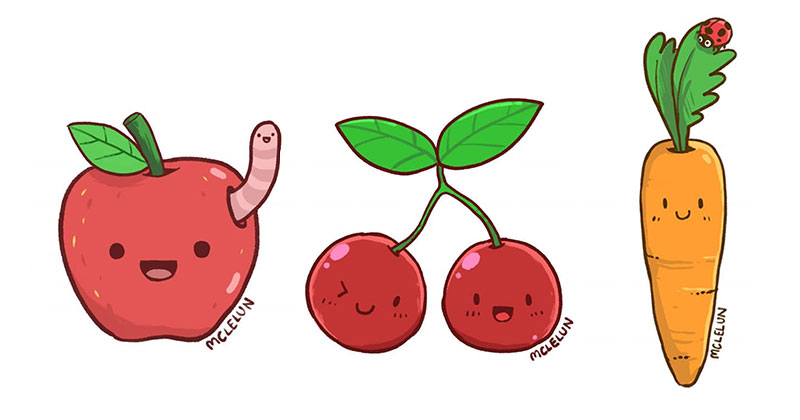 Cute Cartoon Fruit and Vegetable Drawing For Charity Project