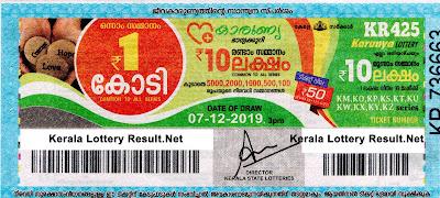Kerala Lottery Result 07-12-2019 Karunya KR-425