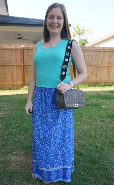 turqouise tank with Ally Fashion blue border print floral maxi skirt rebecca minkoff love bag and guitar strap | awayfromblue