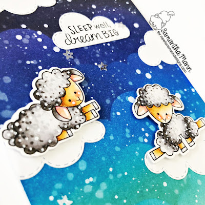 Sleep Well, Dream Big Card by Samantha Mann for Newotn's Nook Designs, Distress Inks, Ink Blending, Clouds, Handmade Cards, Cards, Stencil #newtonsnook #distressinks #inkblending #cards