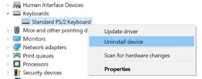 hapus instalan driver keyboard