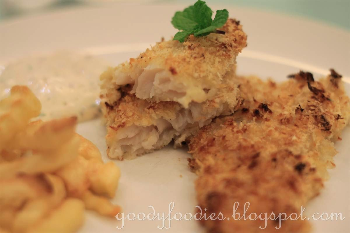 Goodyfoodies recipe oven baked fish and chips easy for Sauce for baked fish